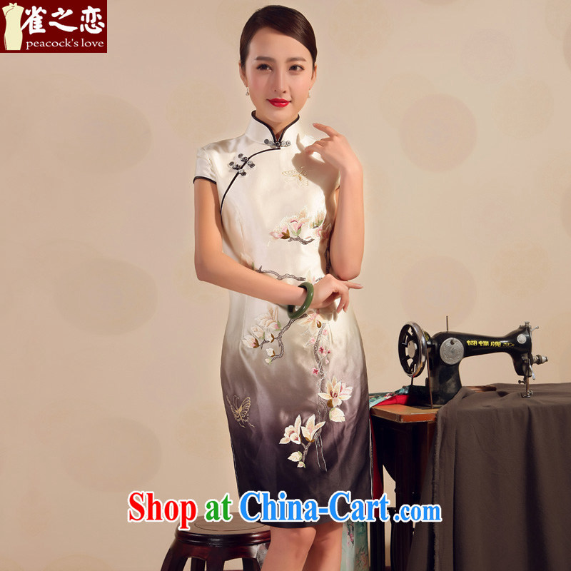 Birds love 2015 new summer skirt outfit improved stylish heavy silk embroidery short cheongsam dress gradient Black - pre-sale 20 days XXL