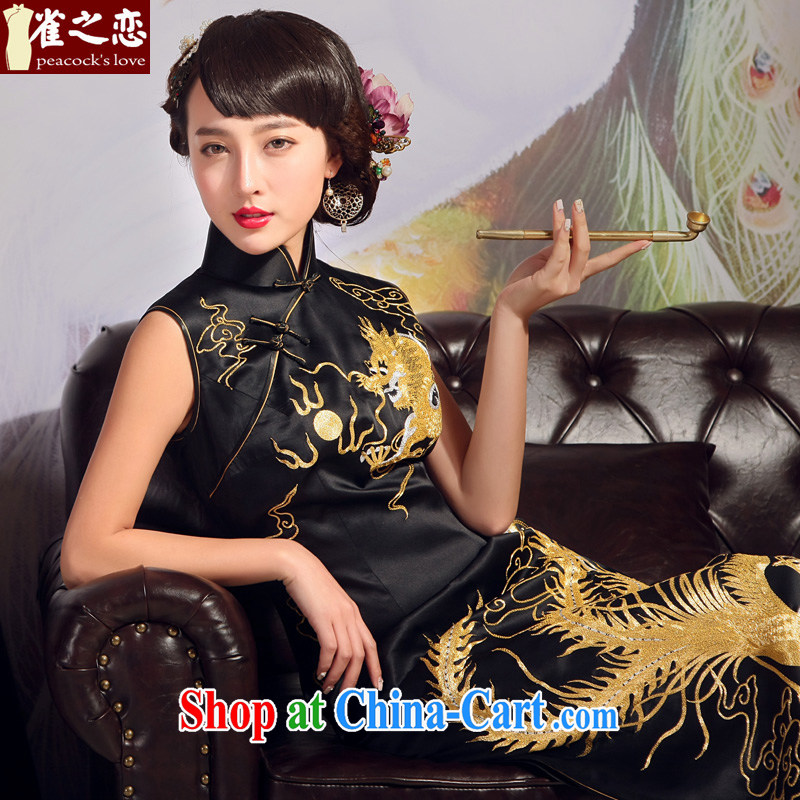 Birds love 2015 new dresses summer heavy Silk Cheongsam dress manual Suzhou embroidery is splendid and long robes Black - pre-sale 20 days out XXL