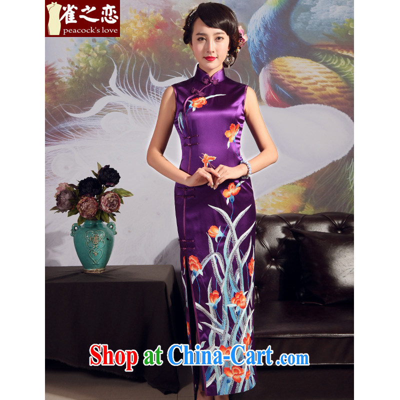 Birds love 2015 summer new advanced embroidery cheongsam upscale boutique style heavy silk embroidered dresses Purple - pre-sale 20 days XXL