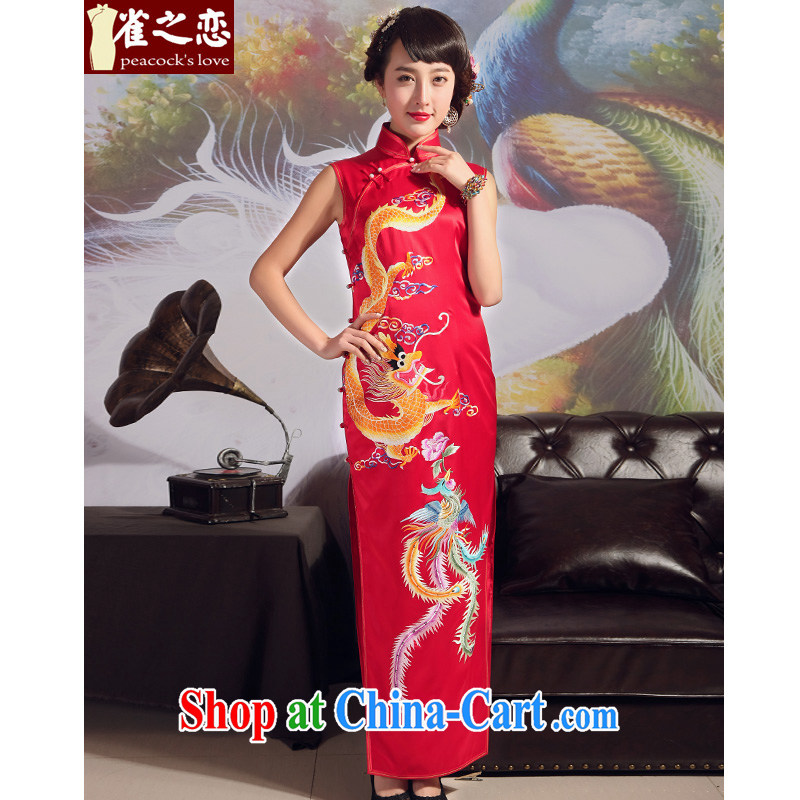 Birds love 2015 summer new heavy Silk Cheongsam retro long red wedding embroidered cheongsam QD 707 red - pre-sale 20 days XXL
