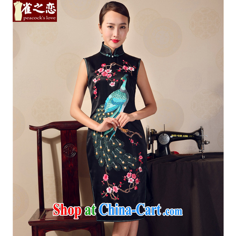 Birds love 2015 new summer dresses skirt heavy silk embroidered short, Mr Ronald ARCULLI, cheongsam dress Black - pre-sale 20 days XXL