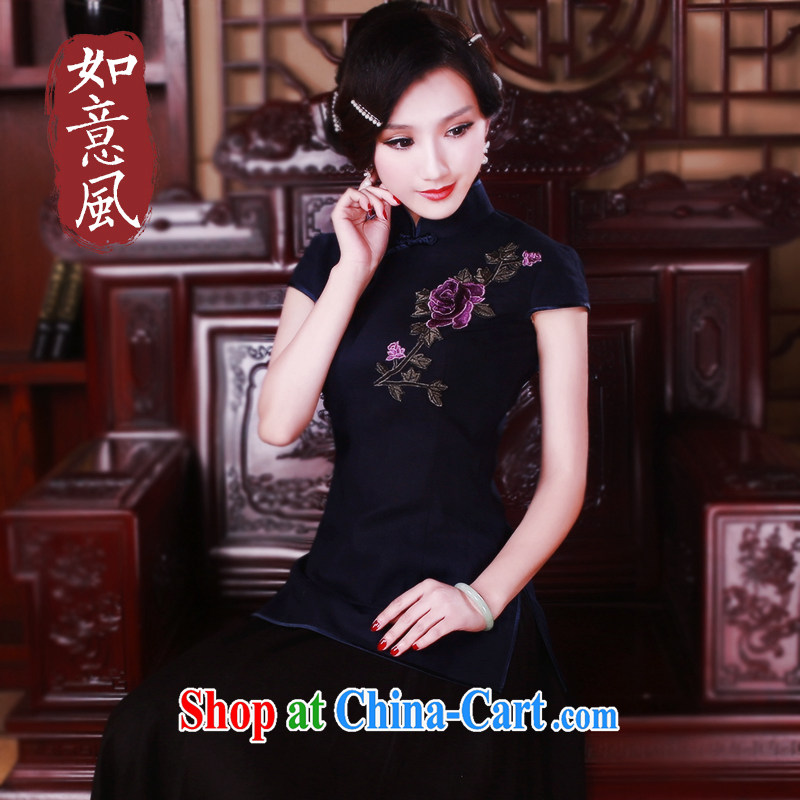 Unwind after the 2015 Chinese female T-shirt stylish and improved retro cotton the cheongsam Chinese female short-sleeved 5023 blue XL