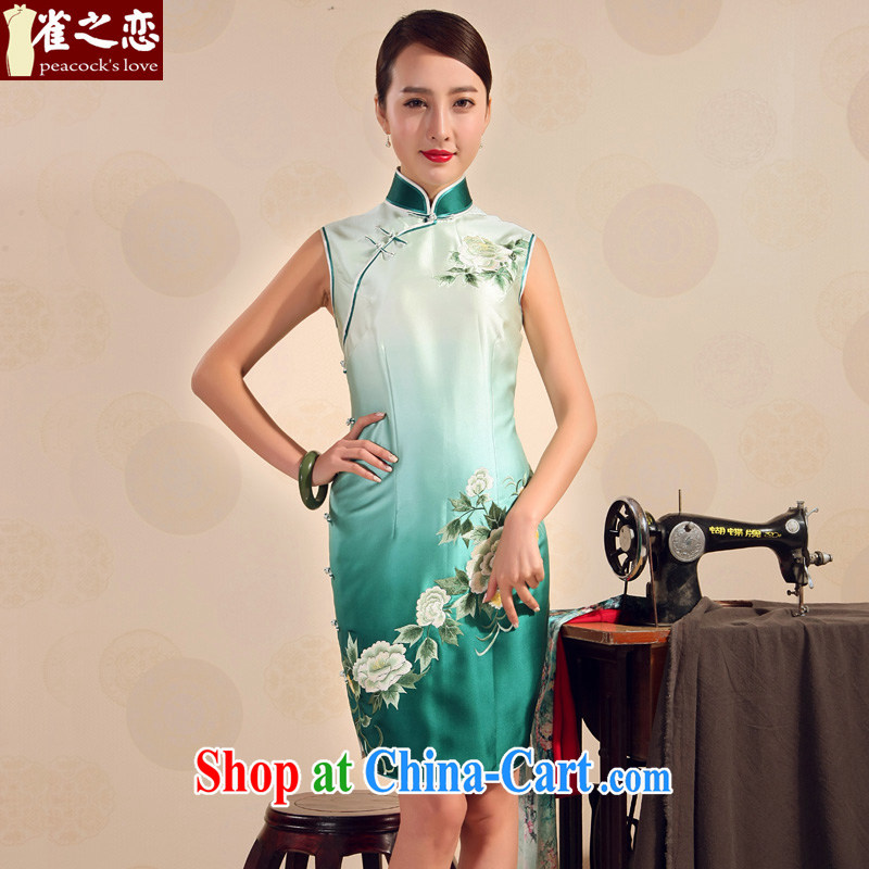 Birds love 2015 new dresses summer full retro Silk Cheongsam dress hand embroidered cheongsam gradient Green - pre-sale 20 days XXL