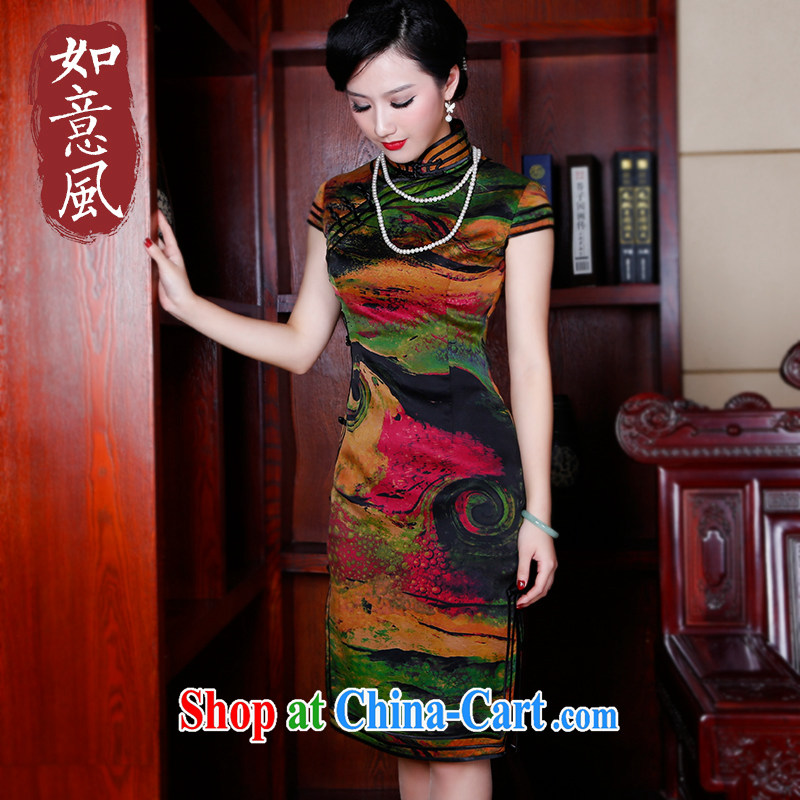 Leisure facilities in the old silk fragrant cloud dresses dresses, long cheongsam dress short-sleeve retro Dress Suit 5244 XXL