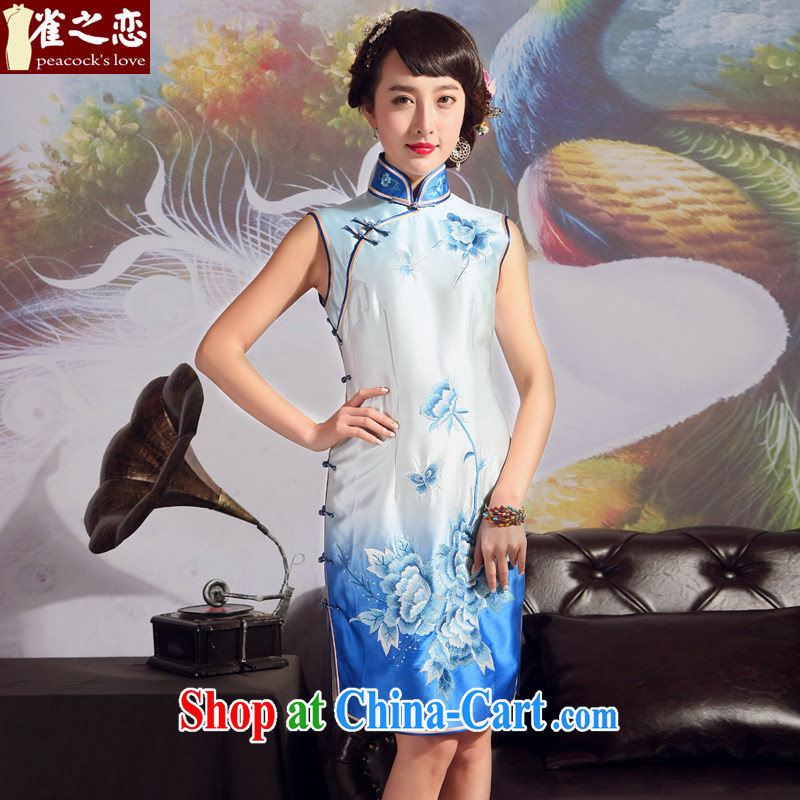 Birds love 2015 summer new retro improved stylish heavy silk embroidered cheongsam gradient blue - pre-sale 20 days XXL
