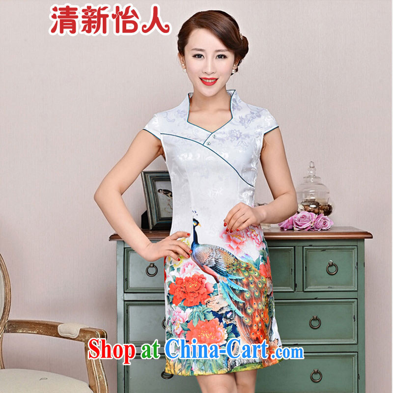 Refreshing new Ethnic Wind elegant low the forklift truck serving toast improved cheongsam dress summer T-shirt dresses female White Peacock peony flowers XXL