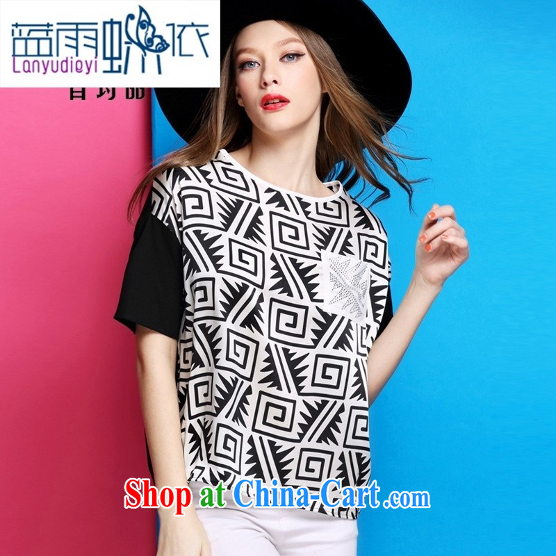 hamilton 2015 Summer in Europe and America for the stamp duty is silk T-shirt short-sleeved parquet drill female T-shirt Shenzhen boutique female figure color XL