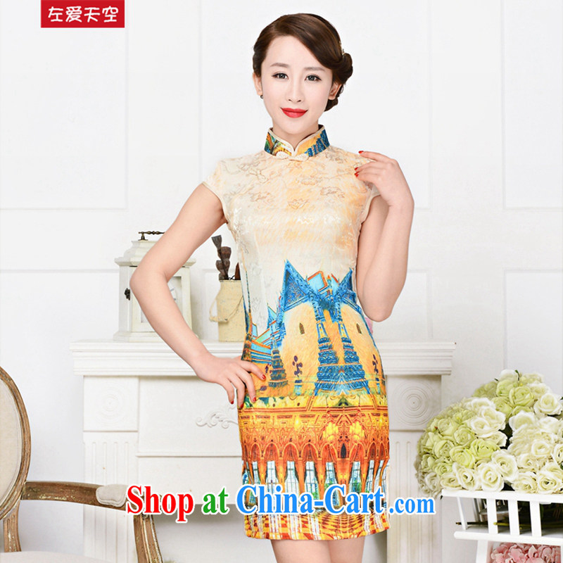 The left love sky 2015 new spring and summer fashion daily improved antique Chinese style short cheongsam dress White Palace figure XXL