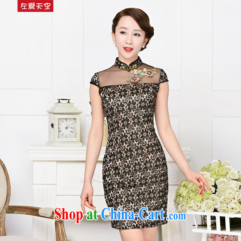 The left love sky 2015 new summer embroidery lace retro daily improved cheongsam dress style women dresses black lace the flower of Bin Laden spent XXL