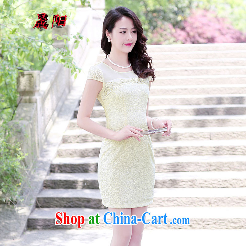 Sung Yang 2015 summer New Beauty video thin short-sleeve solid color improved lace cheongsam dress apricot XXXL