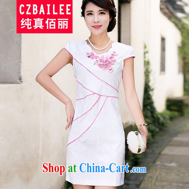 Jin Bai Lai dress dresses 2015 summer fashion style toast clothing graphics thin beauty short-sleeved embroidered summer dress outfit improved toner spent 4XL
