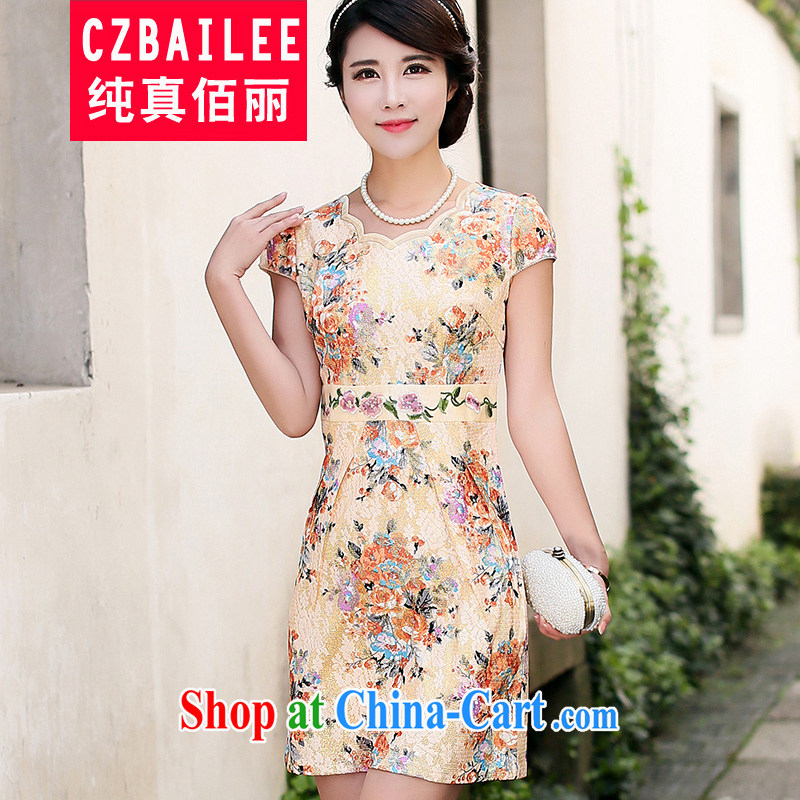 Jin Bai Lai summer dresses skirts stylish improved temperament dresses 2015 dress New Beauty video thin Chinese large code cheongsam dress 4 XL