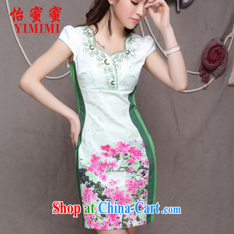 Chow honey honey 2015 new embroidery cheongsam ethnic wind stylish Chinese qipao dress beauty graphics build cheongsam FF A - 033 - 9906 blue XL