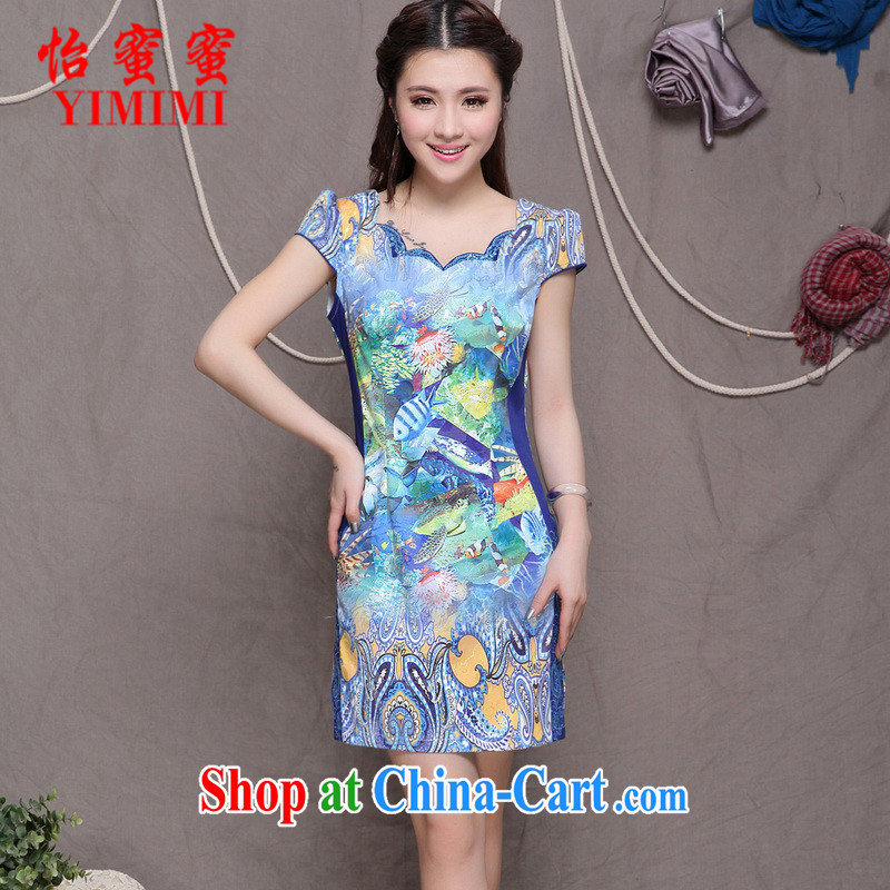 Chow honey honey 2015 new embroidery cheongsam high-end ethnic-style Chinese qipao dress graphics build cheongsam FF A - 033 - 9908 photo color L