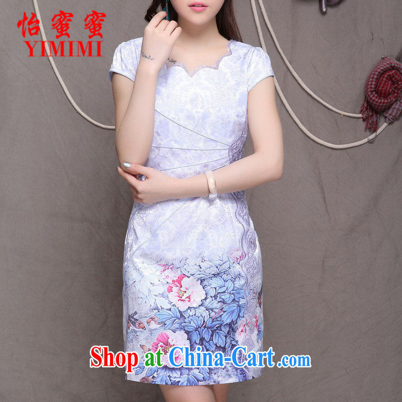Chow honey honey 2015 new high-end Ethnic Wind stylish Chinese qipao dress retro beauty graphics thin cheongsam FF A - 033 - 9902 violet XL