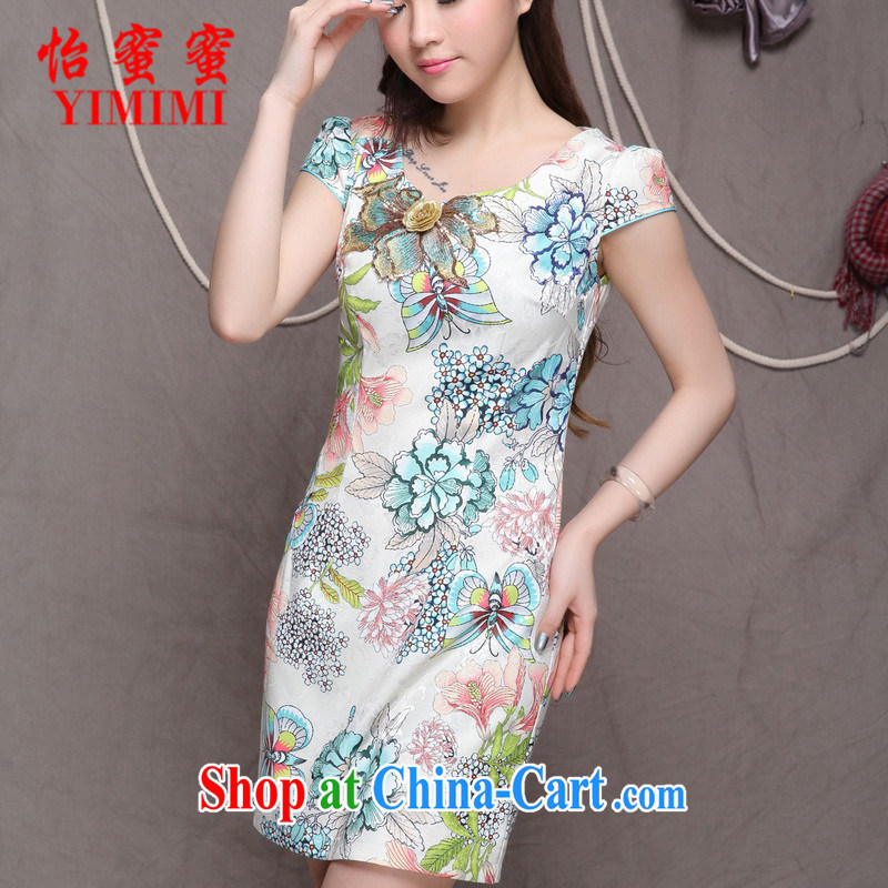 Chow honey honey 2015 new embroidered ethnic wind stylish Chinese qipao dress daily retro beauty graphics thin cheongsam FF A - 033 - 9907 light green L