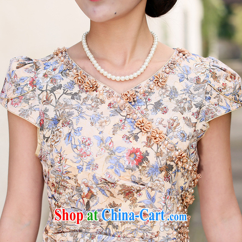 Jin Bai Lai Chinese qipao dress new and improved, 2015 embroidery high-end antique dresses short-sleeved gown toast clothing qipao 4 XL, pure Bai Lai (C . Z . BAILEE), online shopping
