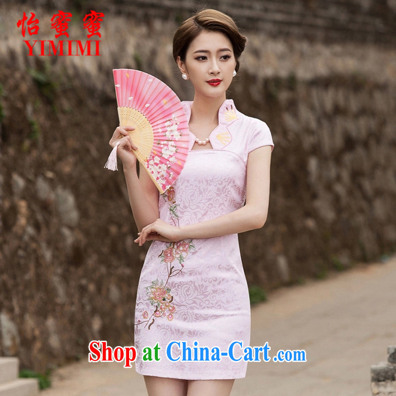 Chow honey honey 2015 new summer fashion improved cheongsam dress, Style short dress B - 518 - 1122 pink XL