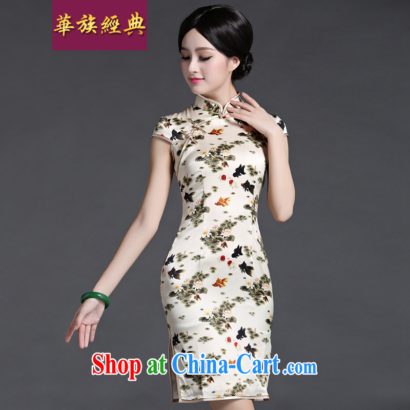 China classic summer grade heavy silk sauna Silk Dresses day dresses stylish improved elegance floral XXXL