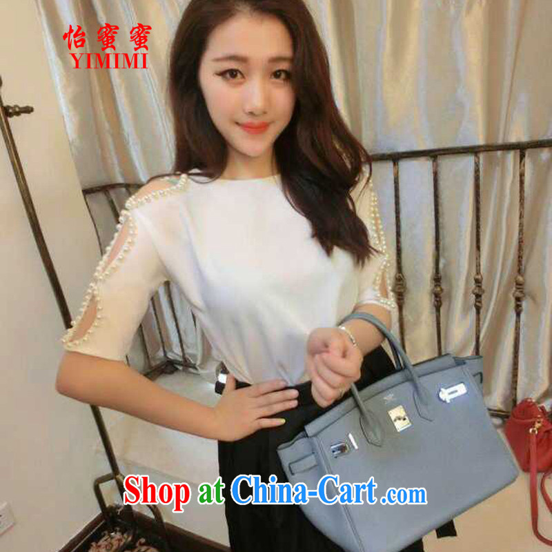 Chow honey honey 2015 new European site stylish new bare shoulders Openwork beaded round-collar short-sleeve T-shirt BR - B 2033 - 203 white M