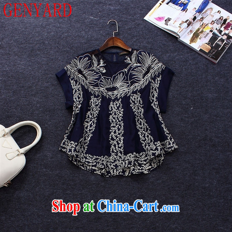 Deloitte Touche Tohmatsu sunny store 2015 summer new women with large, loose in Europe to the embroidery two-piece Doo tents T-shirt short-sleeved T shirt dark blue XL _42_