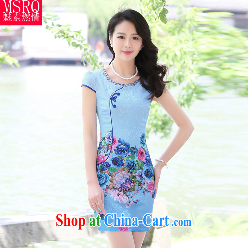 Quality of fuel, summer 2015 New Classic jacquard round-collar beauty graphics thin retro dresses women's clothing dresses blue rose-colored XXL