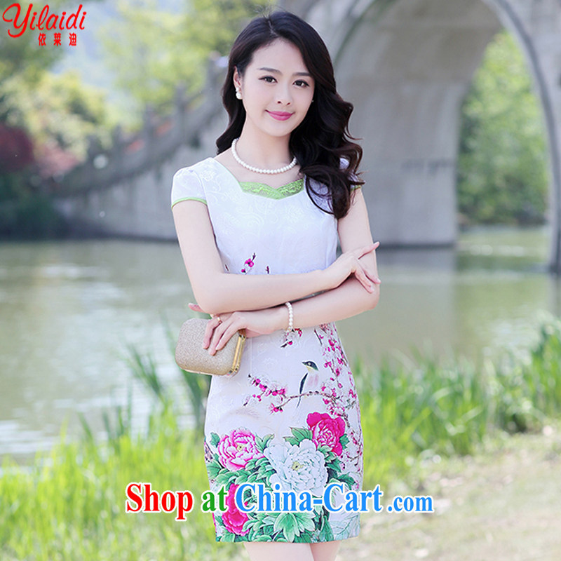 According to Tony BLAIR's 2015 summer new jacquard V collar retro beauty classic contemporary Chinese qipao dresses female Red Peony XXXL