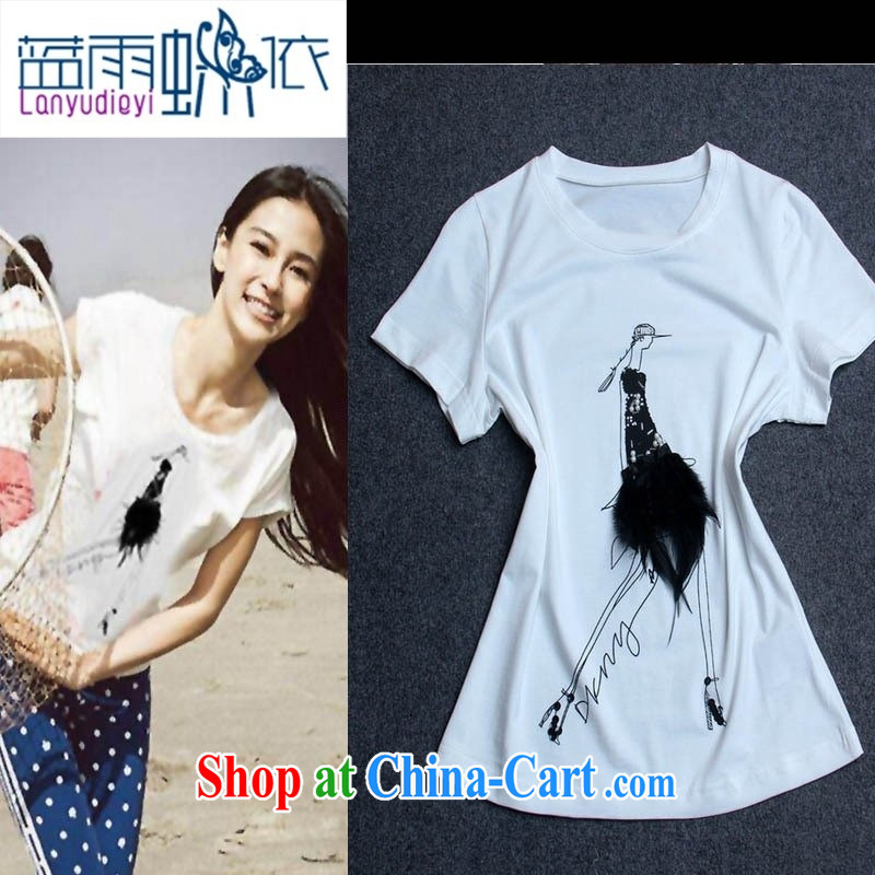 hamilton stars with round-collar short-sleeve pin feather female T shirt T-shirt woman with burglary, summer girl Y 37,453 white L