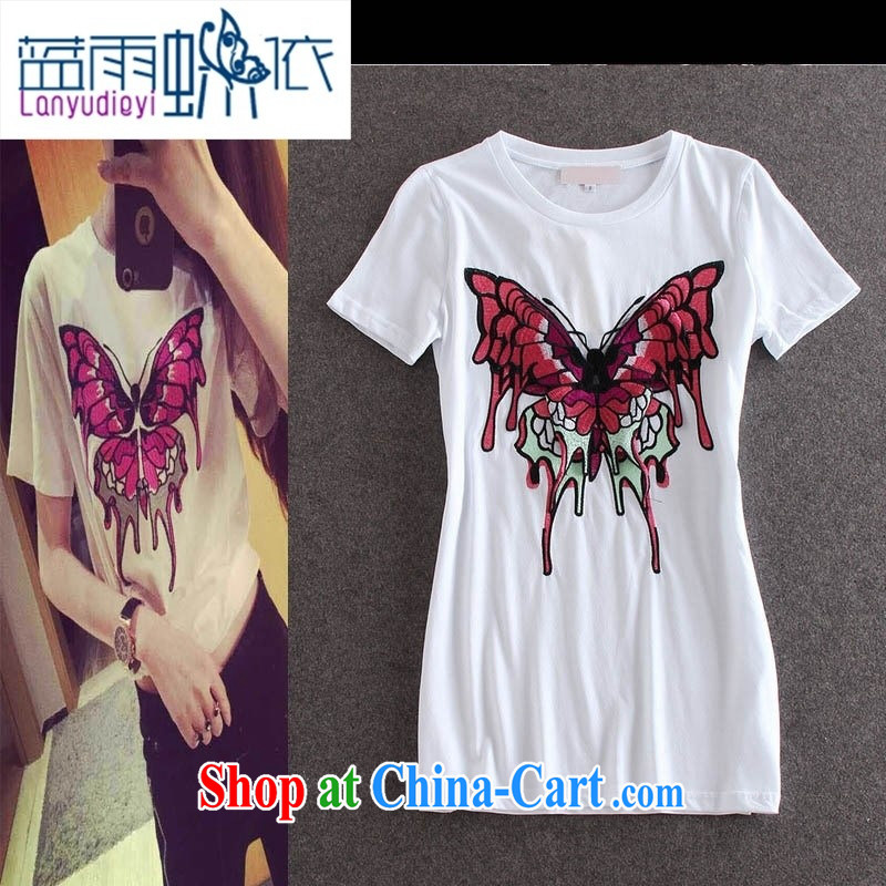 hamilton fashion ladies embroidery butterfly pattern round-collar short-sleeve, long T pension summer female burglary, 30,151 Y black L