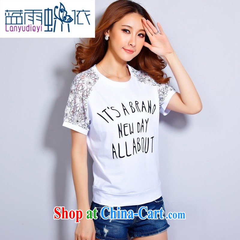 hamilton 2015 summer new lace round-collar bat sleeves short-sleeved stamp T shirts loose cotton large, light gray 2XL