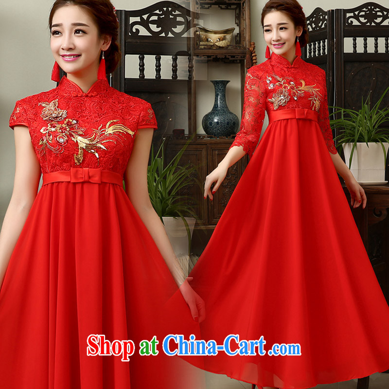 married love 2015 new toast serving spring, long wedding red bridal wedding dresses wedding dresses pregnant women in red sleeved XL