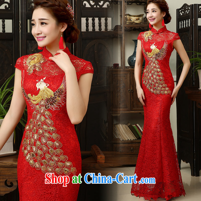 married love Evening Dress new spring 2015 Korean-style crowsfoot bridal toast serving long, cultivating red wedding dresses summer dresses red XL