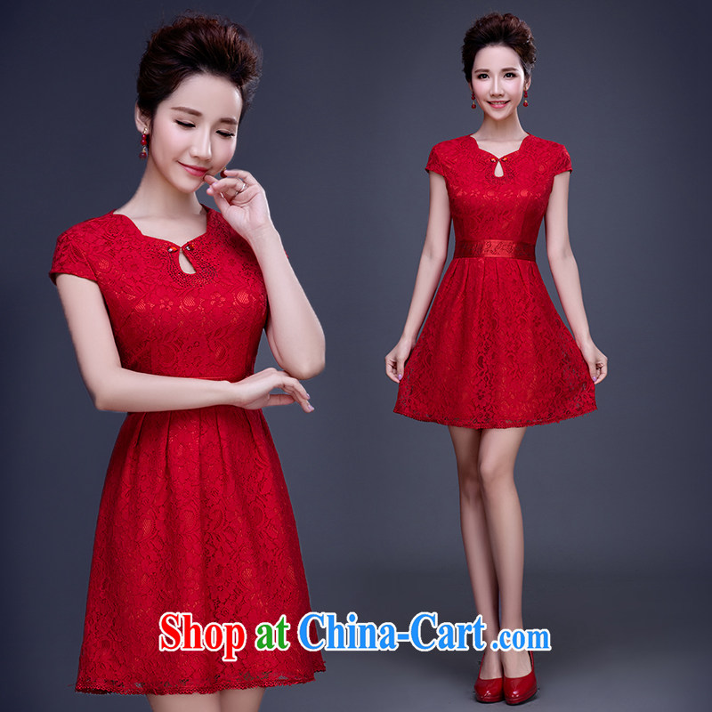 married love bridal toast service 2015 spring new wedding dresses red lace short dresses summer wedding dress female Red XL