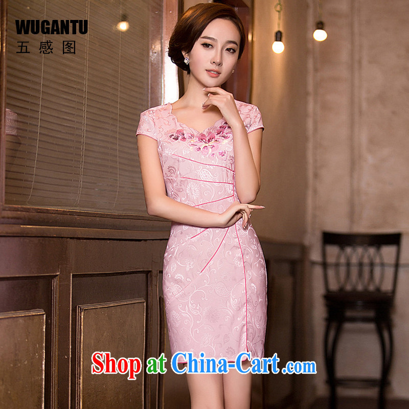 5 sensing the beauty embroidery, qipao dresses 2015 China wind National wind dress dress WGT 194 photo color XXL