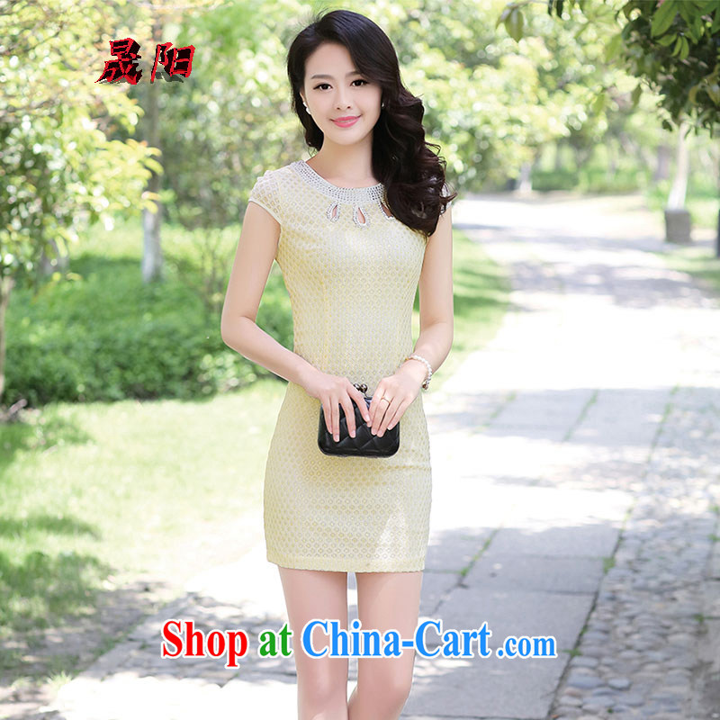 Sung Yang 2015 summer New Beauty video thin short-sleeve with manual hot drill solid color improved cheongsam lace dresses apricot XXXL