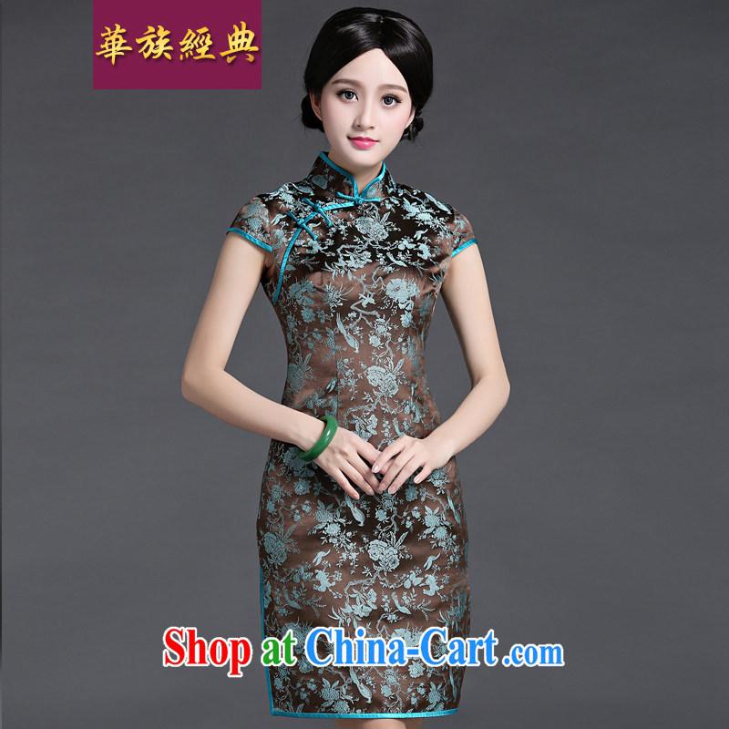 China classic 2015 spring and summer new upscale damask short-sleeve double-shoulder cheongsam dress improved retro short XXL suit