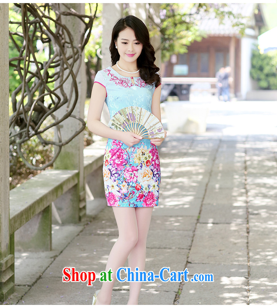 Sung Yang 2015 summer new Korean Beauty short-sleeved round-collar Peony stamp improved cheongsam dress green the peony flower XXL pictures, price, brand platters! Elections are good character, the national distribution, so why buy now enjoy more preferential! Health