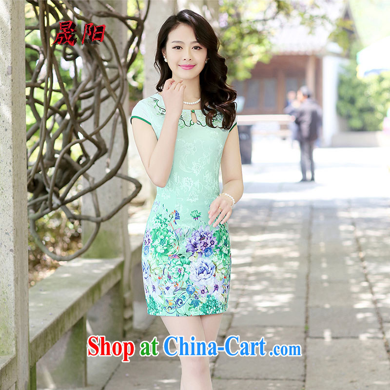 Sung Yang 2015 summer new Korean Beauty short-sleeved round-collar Peony stamp improved cheongsam dress green the peony flower XXL