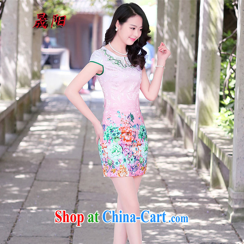 Sung Yang 2015 summer new Korean version cultivating short-sleeved round-collar Peony stamp improved cheongsam dress green the peony flower XXL, Sung-yang (shengyang), online shopping