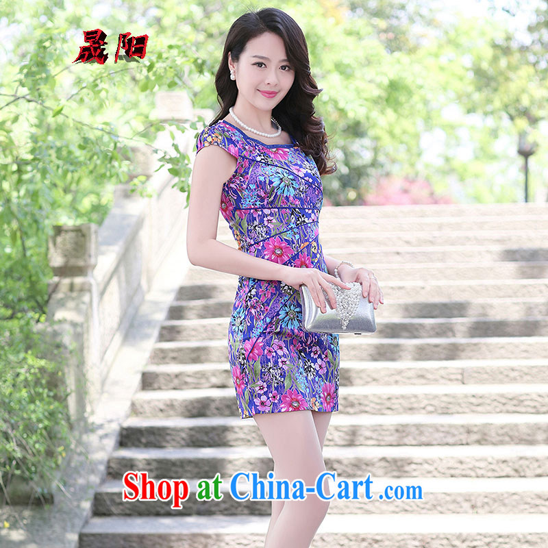 Koo Dae-sung Yang 2015 summer New Beauty video thin short-sleeved round-collar landscape stamp improved cheongsam dress blue Sun Flower L