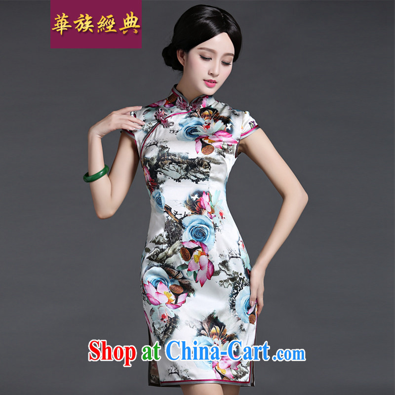 china korea classic stylish summer silk sauna silk everyday, qipao dresses retro improved short L suit