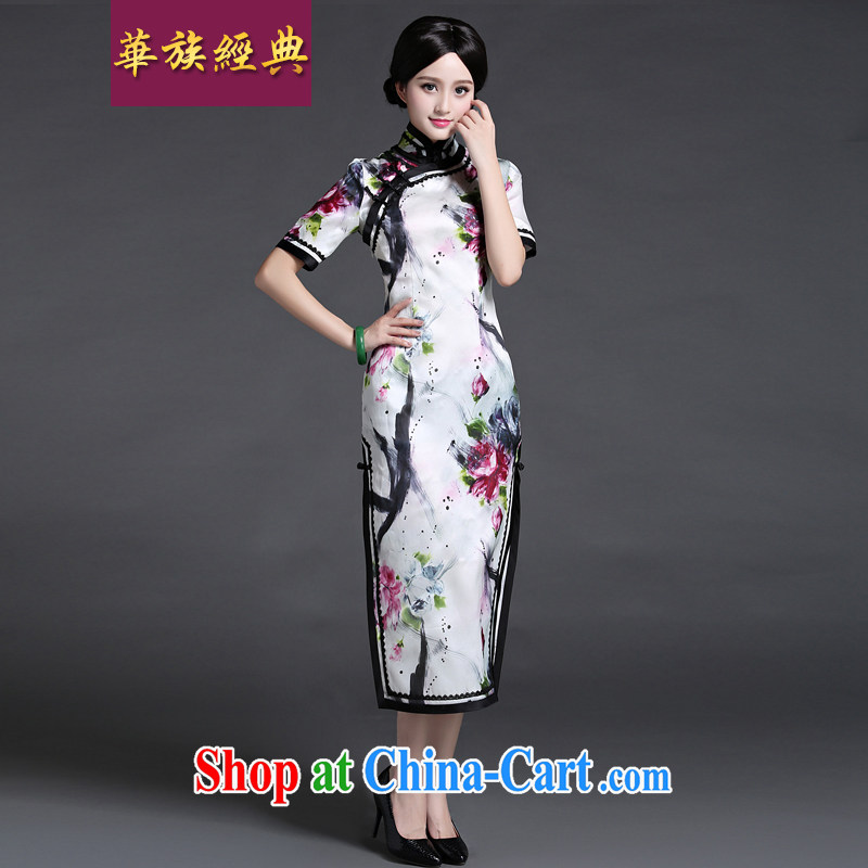 China classic 2015 new Chinese silk long dresses, dresses spring and summer with improved elegant everyday floral M