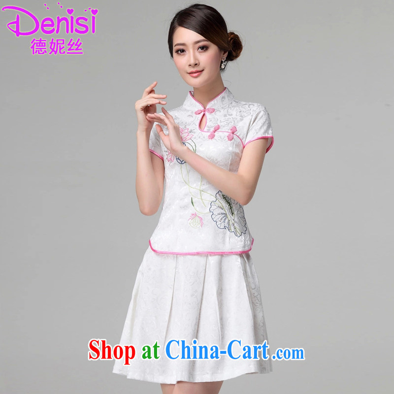 Connie, population 2015 summer, female new beauty routine retro long-sleeved improved stylish outfit two piece kit 1121 white short-sleeved L