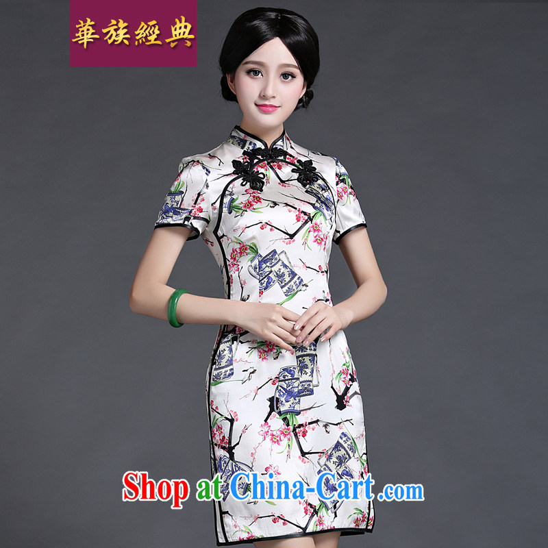 China classic 2015 new summer heavy silk dos santos Ms. Silk Dresses daily dress improved graphics thin fancy XXXL