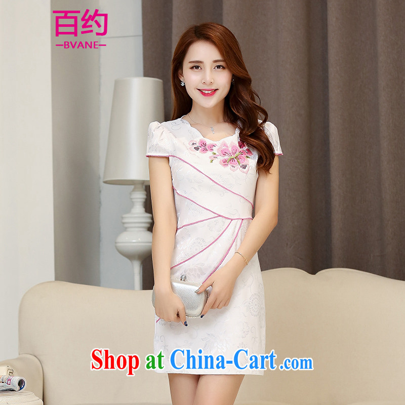 About 100 spring 2015 summer new short retro style graphics thin cheongsam dress daily fashion improved cheongsam beauty dresses White Red (the silk scarf) M