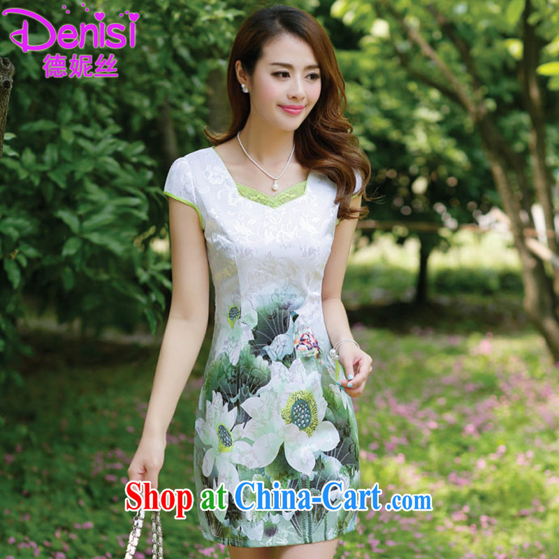Connie, population 2015 summer dress stamp dress short-sleeved beauty retro national dresses package and 6659 emerald S