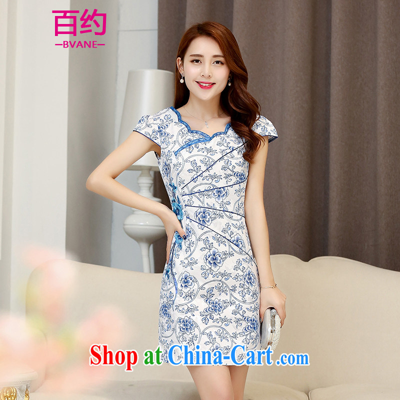 100 about 2015 Spring Summer fashion new retro blue and white porcelain everyday dress improved cultivation style cheongsam dress dresses female blue and white porcelain (the silk scarf) M