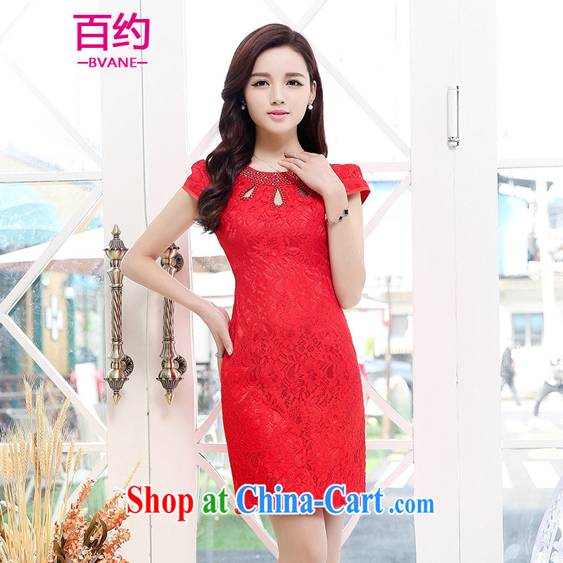 About 100 2015 spring and summer with improved stylish back doors beauty dresses marriages Chinese small dress uniform toast short cheongsam red _the silk scarf_ M
