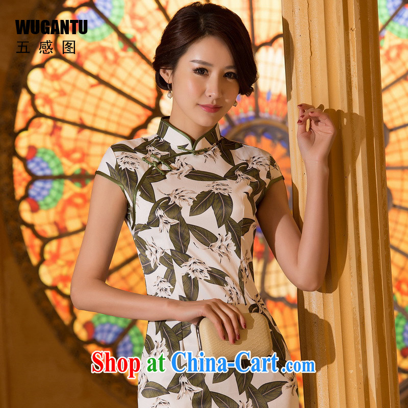 5 AND THE 2015 spring and summer new improved dresses daily fashion sense of cultivating Sai Kung cotton short cheongsam dress WGT 0370 photo color XXL