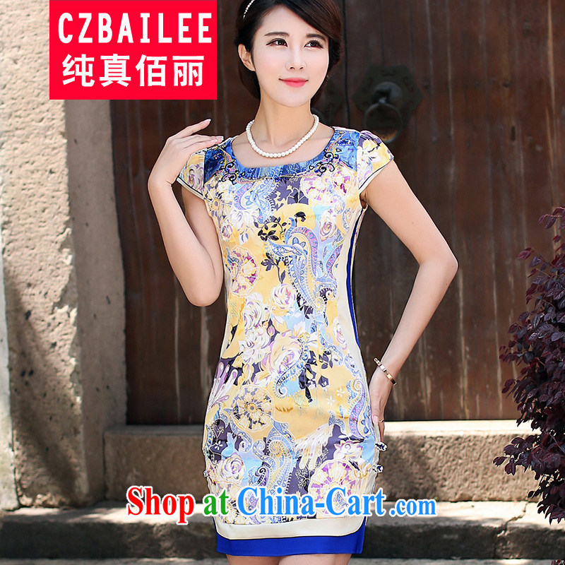Jin Bai Lai 2015 new summer improved cheongsam dress graphics thin cultivating Chinese style dresses short-sleeved stamp dress cheongsam 4XL